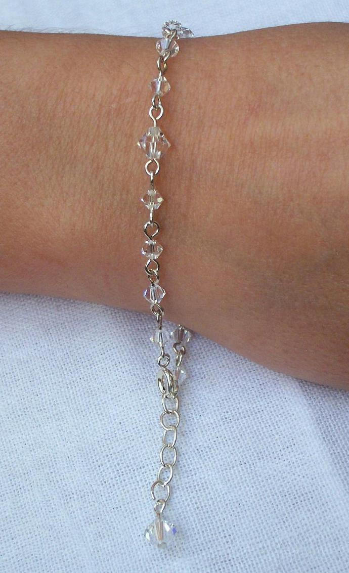 Diamond (Clear) Swarovski Crystal - Silver Plated Bracelet
