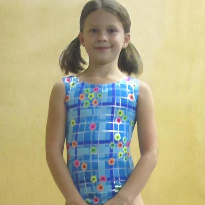 Girls Gymnastics Leotard Childs size 6 7 8 blue turquoise pink lime silver
