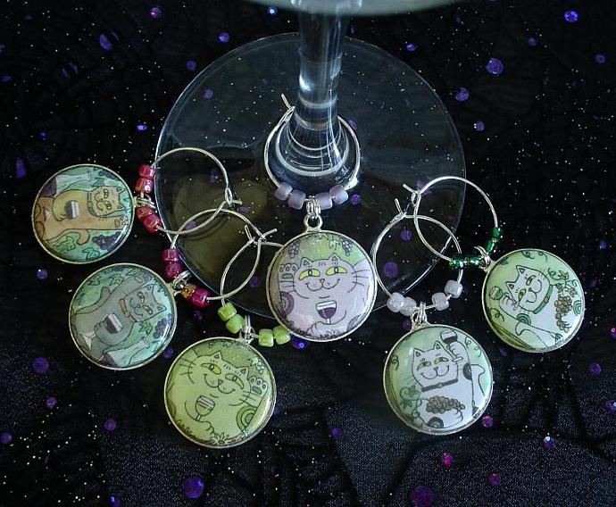 Lucky Cats Who Like Wine Drink Glass or Wine Charms Set of 6