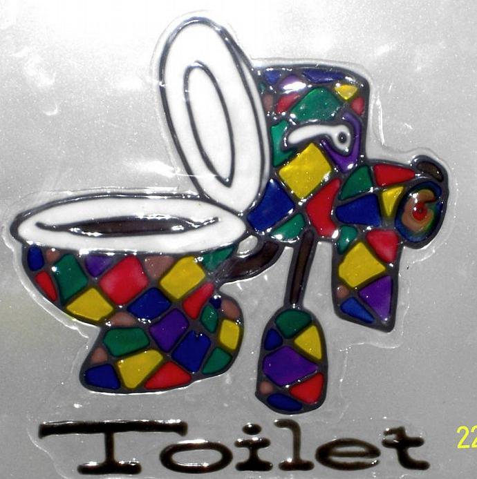Toilet Door Sign-Rainbow Bowl-Toilet