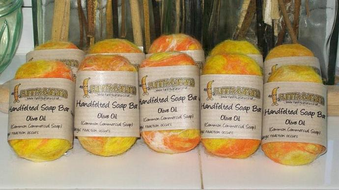 10 Luxury Guest Soap Aloe Vera Xmas or your Message Felted