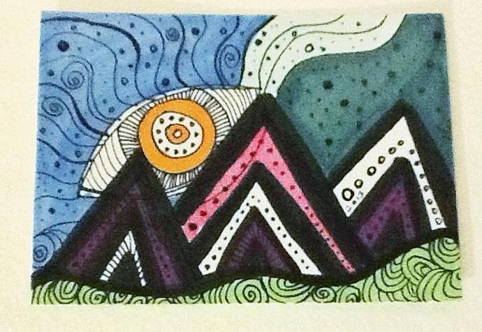Abstract ACEO modern art card Purple Mountains ATC small format art SFA