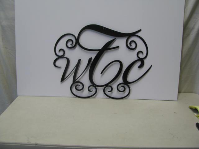 Monogrammed Door Decor Metal Art Silhouette