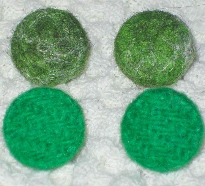 4X Handmade Buttons Felted and Wool Si.22-14mm Green