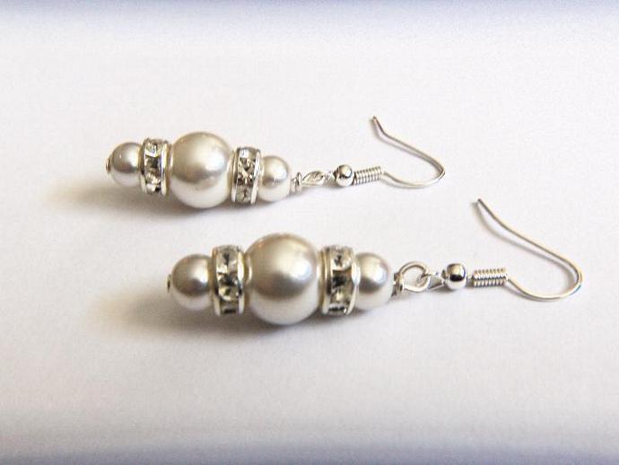 Bridal Earrings, Faux Pearls With Rhinestone Spacers