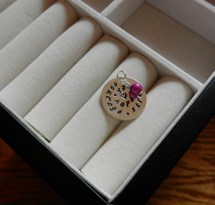 """Breast Cancer Awareness - 7/8"""" Hand Stamped Sterling Silver Pendant w/ Pink"""