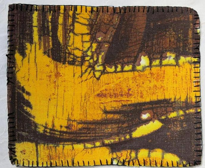 batik original textile orange yellow brown black hand embroidered OOAK hanging