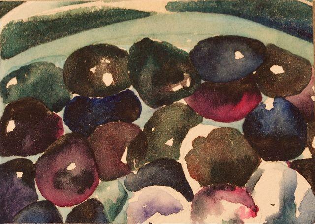 Watercolor painting ACEO  black purples indigo magentaOoriginal  original round