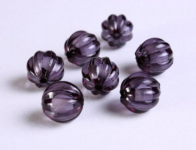 12mm Black acrylic round melon lucite bead 8pcs (1117)