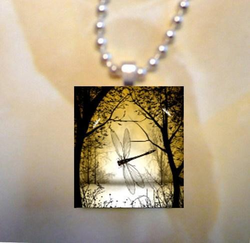 Scrabble Tile Art Pendant - Dragonfly - Fantasy Forest and Dragonflies
