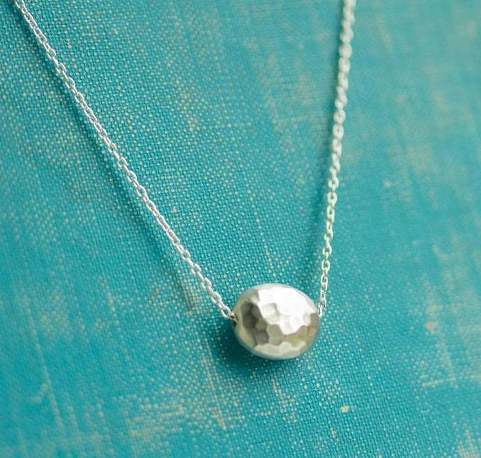 Hammered Puffed Oval Neckalce, Sterling silver, Dainty, Simple necklace