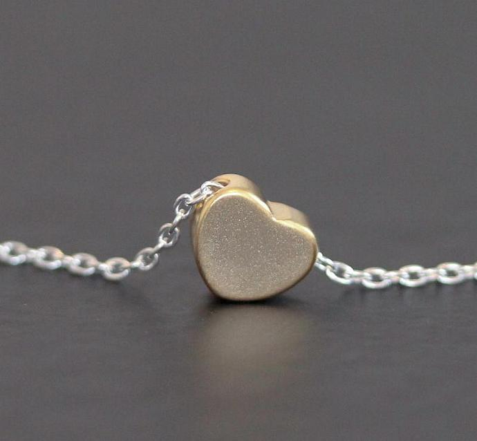 Sterling silver Necklace with Gold 3D heart charm, love, valentine, Dainty sweet