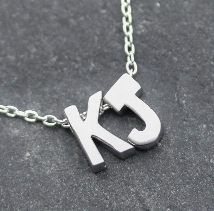 Initial jewelry, Sterling silver Necklace with letter charm, 3D presonalized