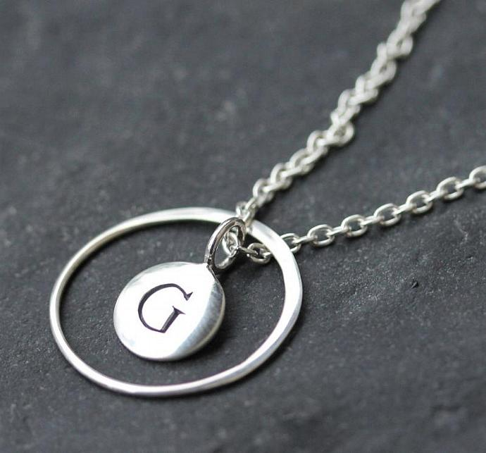 Monogram Necklace, Sterling silver, personalized, hoop, initial