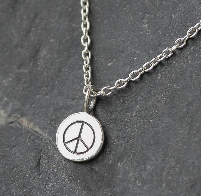 Peace Sign Neckalce, Sterling silver, Simple jewelry, dainty