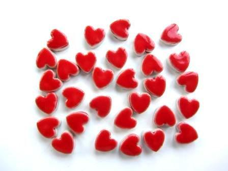 30 small handmade pretty red heart tiles great for mosaics or cards