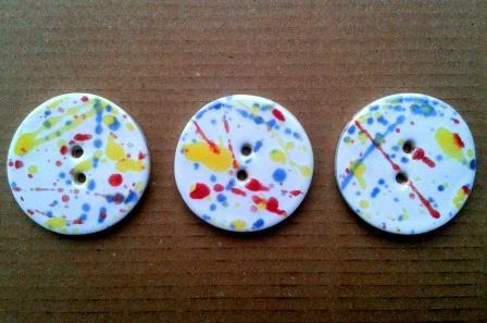 3 large beautiful  handmade ceramic  unique one off Art buttons