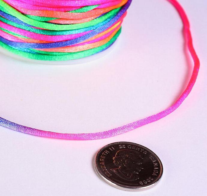 2mm Rainbow multicolor Nylon thread cord 10 feet (R010)