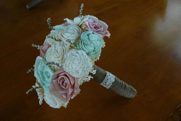 Wedding Bouquet, Sola wood Bouquet, Mint | annetteewert