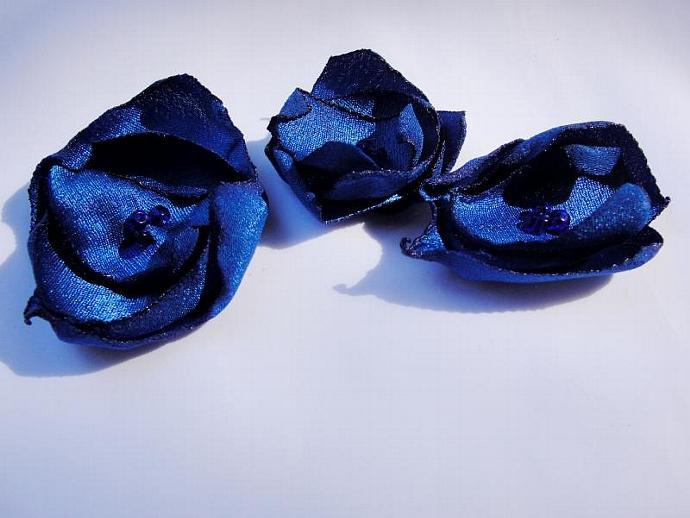 Set of Three Small Blue Satin Flower Embellishments
