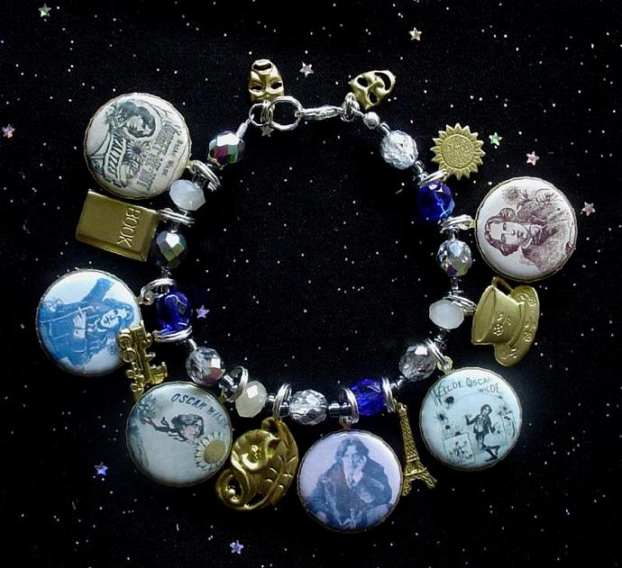 Oscar Wilde 1882 American Tour Charm Bracelet with 6 Altered Art Picture Charms