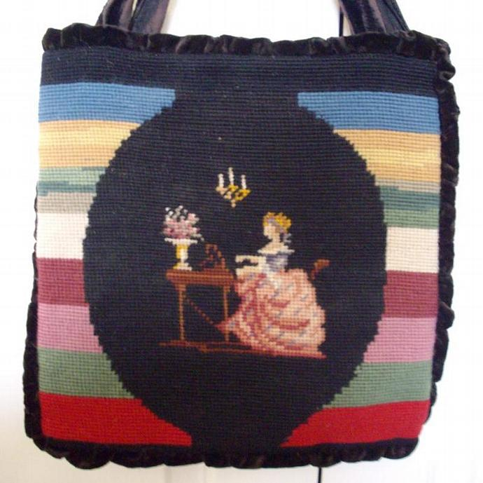Antique Needlepoint Purse/Tote Lady at harpsichord
