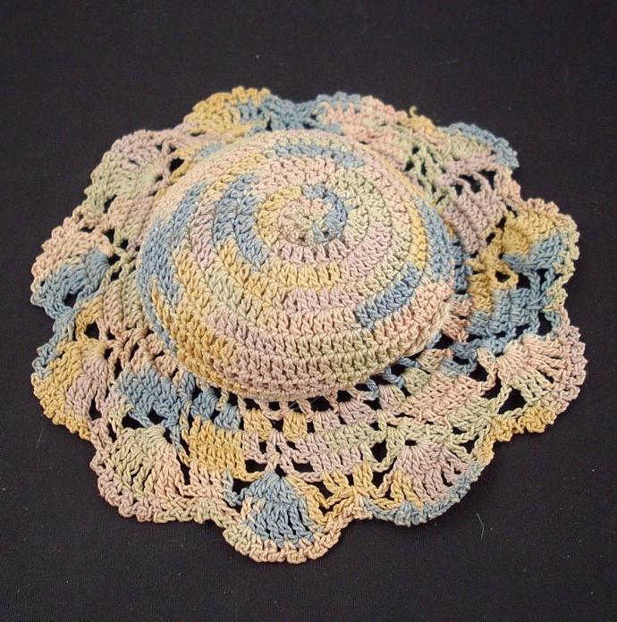 Vintage Crochet Pastel Hat Pincushion