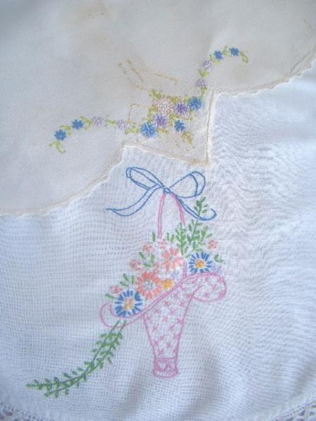 2 Vintage Embroidered Dresser Scarves - Basket of Flowers and Pastel Flowers