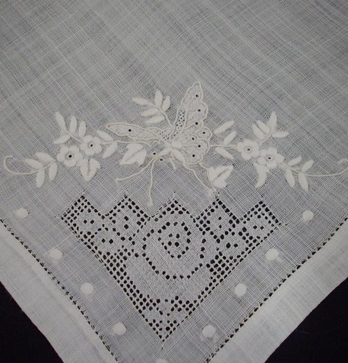 Vintage Handkerchief - white with butterflies and flowers