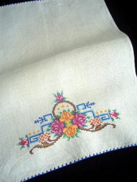 Vintage colorful embroidered dresser scarf
