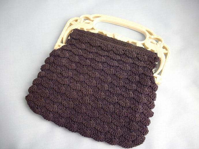 Vintage Black Corde Crocheted Bag wth Peacock Handle