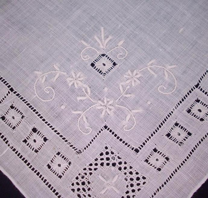Vintage Handkerchief - white with embroidered flowers, cutwork