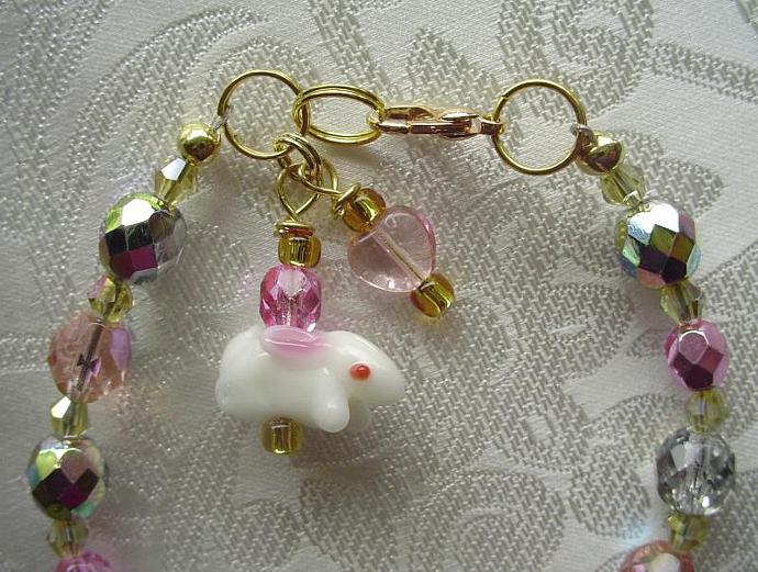 White Bunny Rabbit Charm Drop Bracelet with Pink Heart & Czech Glass