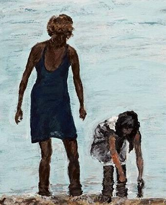 Afternoon Beach  An Original Painting of Mother and Daughter