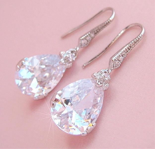 Classic Teardrop CZ Crystal Bridal Earrings