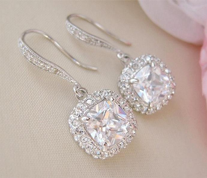 Cushion Cut Crystal Bridal Earrings Square Wedding Earrings Bridal Jewelry