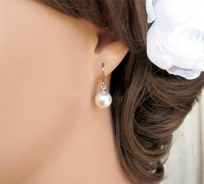 Simple Rose Gold Pearl Bridal Earrings CherryHillsBridal