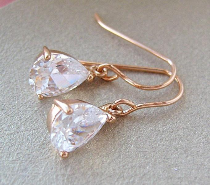 Small Bridal Earrings Rose Gold Teardrop Crystal Earrings