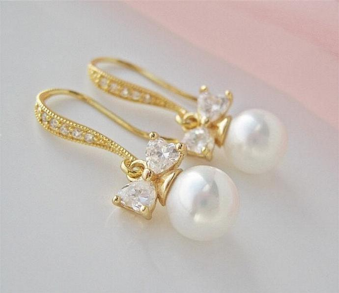 Gold CZ And Pearl Bridal Bow Tie Wedding Earrings