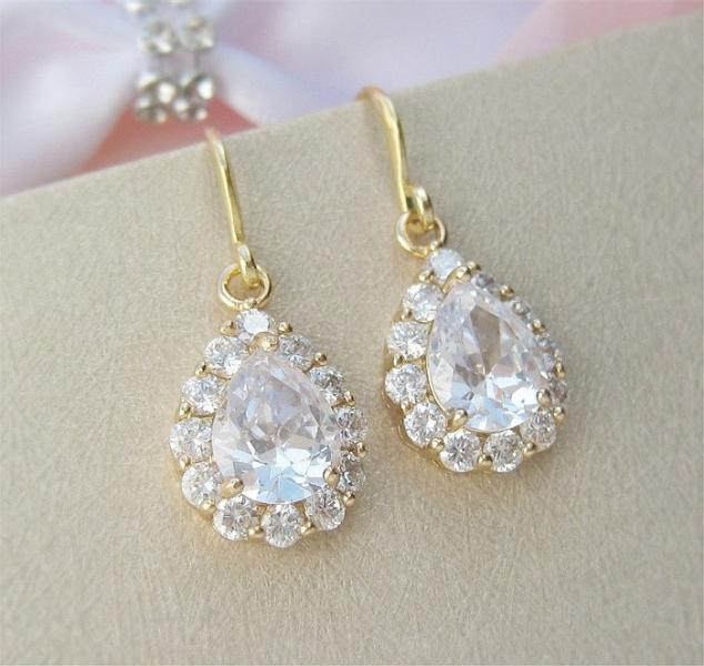 Gold Teardrop Wedding Earrings Gold Bridal Jewelry Bridal Earrings Wedding