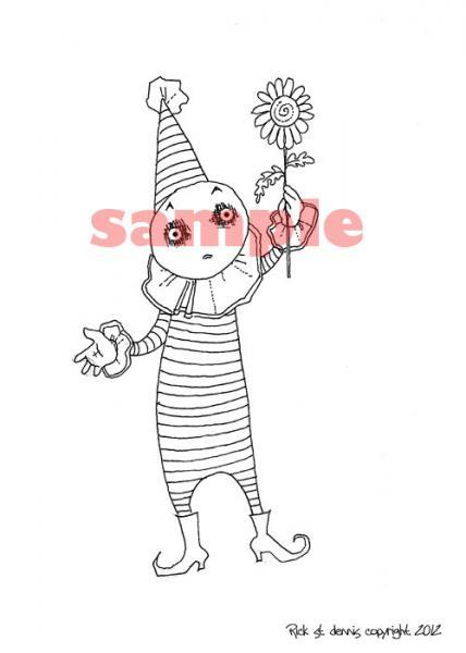 Euro clown with FlowEr Digi Stamp
