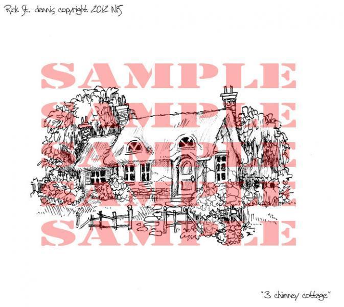 Three Chimney Cottage digi stamp