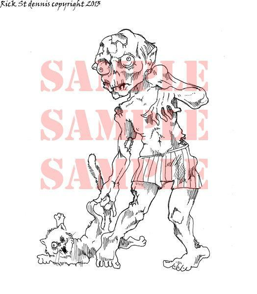 ZOMBIE CAT DRAGGER digital Stamp