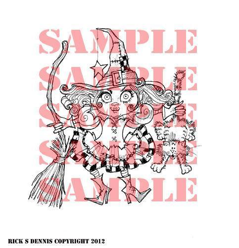 Bratty Lil Witch digital stamp BACK for 2013