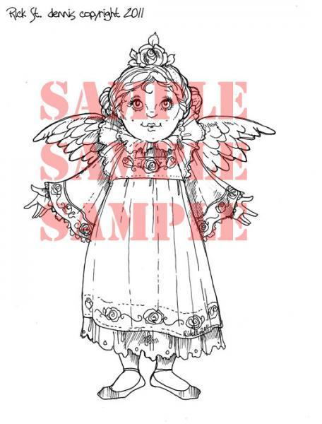 Rose Angel (Rosen Engle) digi stamp