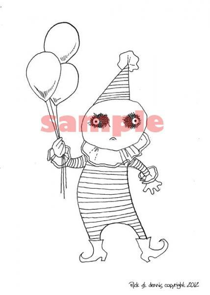Euro clown with BalLOoN Digi Stamp