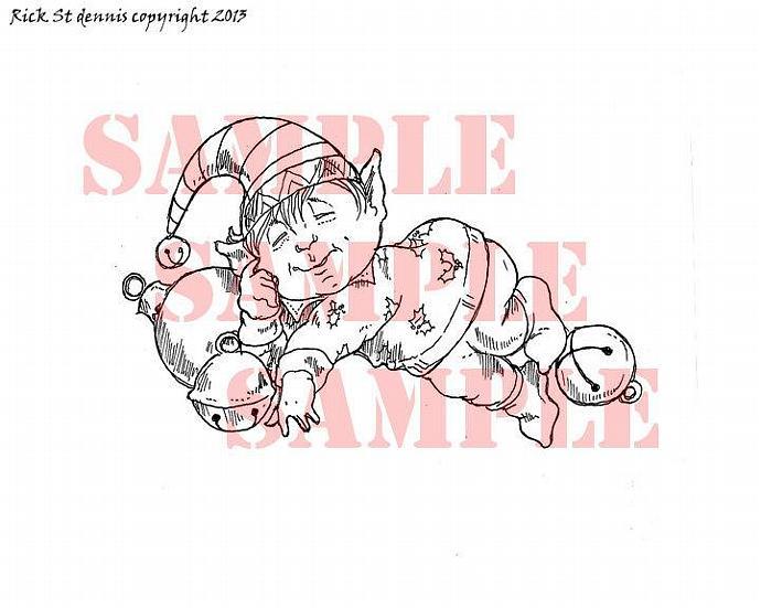 Happy Elf SNOOZE digital stamp