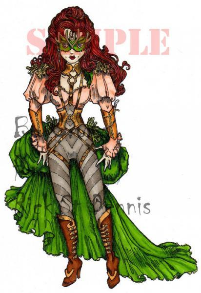 Angelique the assassin Steampunk digi stamp