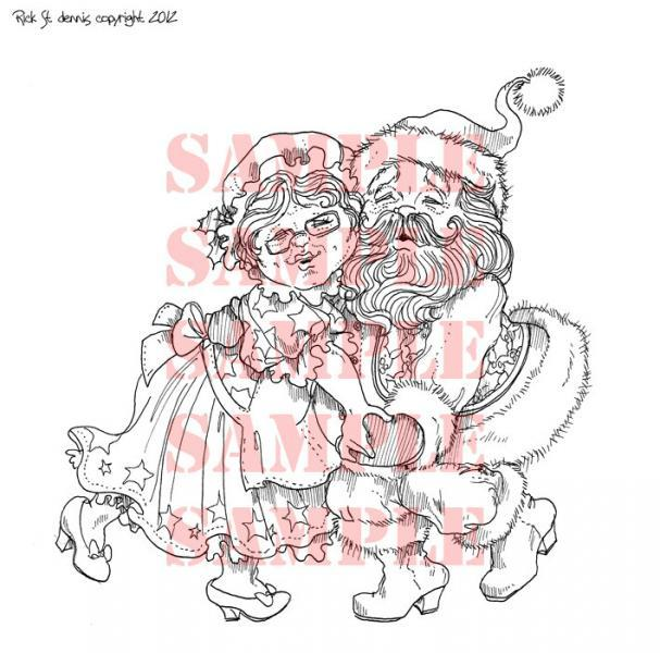 Christmas Couple digital Stamp