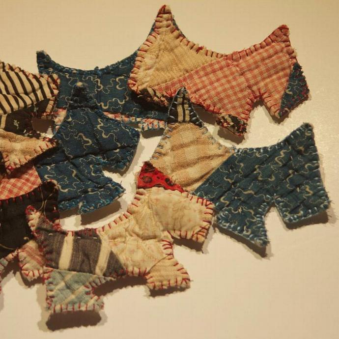 Ornaments handmade scottie dogs quilted Christmas ornaments abstract scotties